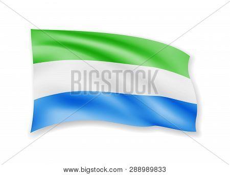 Waving Sierra Leone Flag On White. Flag In The Wind.