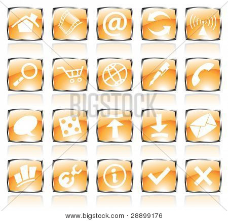orange glossy web icons with metallic frames