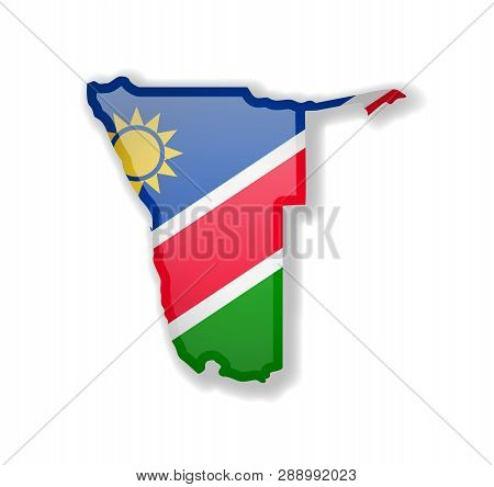 Namibia Flag And Outline Of The Country On A White Background.