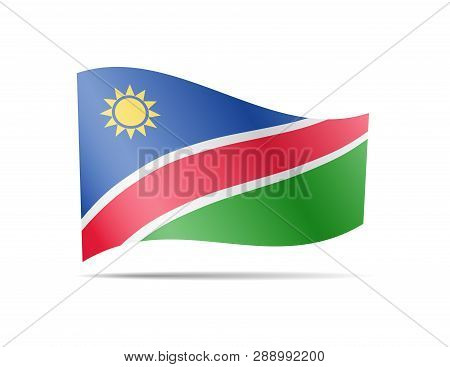 Waving Namibia Flag In The Wind. Flag On White. Vector Illustration