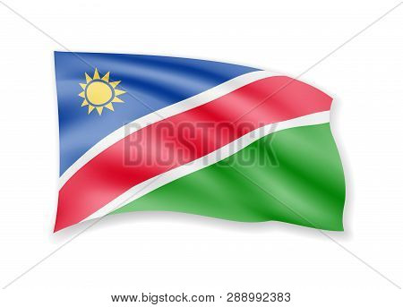 Waving Namibia Flag On White. Flag In The Wind.