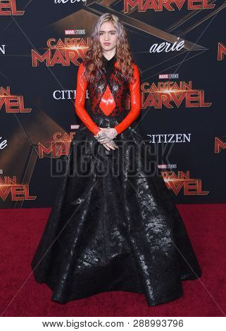 LOS ANGELES - MAR 04:  Grimes arrives for the 'Captain Marvel' World Premiere on March 04, 2019 in Hollywood, CA