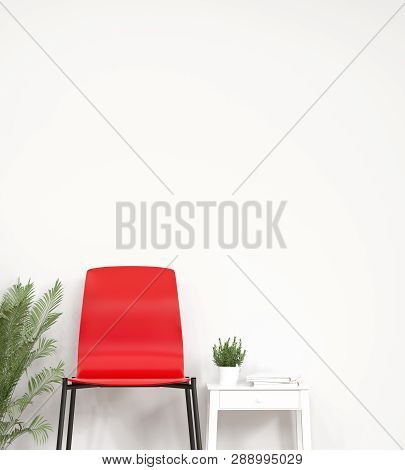 Red Chair In Front Of Simple White Wall With Decorative Items Empty Room,open Door,3d Rendering Luxu
