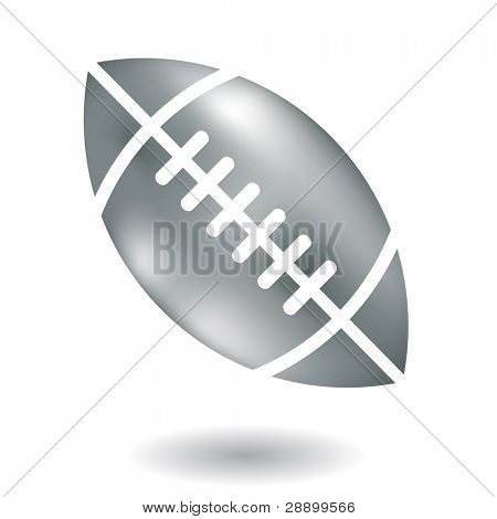 Line art metallic american football isolated on white