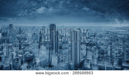 Futuristic Blue Smart City At Night, Starry Sky. Smart City And Technology Background