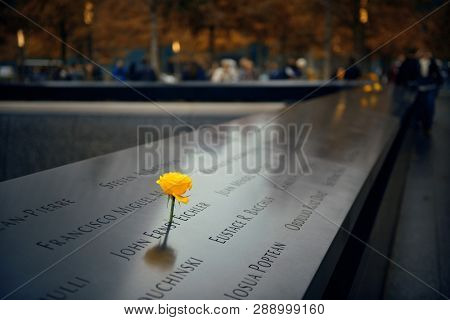 NEW YORK CITY - NOV 12: September 11 memorial with rose on November 12, 2014 in Manhattan, New York City. With population of 8.4M, it is the most populous city in the United States.