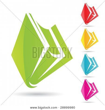 Eps Vector illustration of colorful book icons