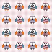 Vector seamless checked pink and white pattern little cute owls. poster
