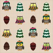 Vector seamless winter checked pattern with little cute owls dressed scarfs and hats. poster