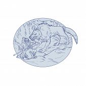 Drawing sketch style illustration of Norse god, Odin, god of wisdom and war, being attacked by Fenrir, a monstrous wolf in Norse mythology set inside oval shape a on isolated white background. poster