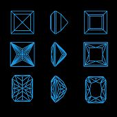 Collection square shapes of a gemstone against black background. Wireframe poster
