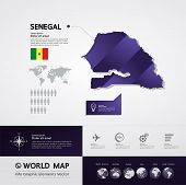 Senegal grand mp and world map vector illustration. poster