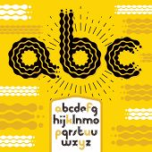 Vector lower case modern disco alphabet letters, abc set. Rounded bold font, typescript for use as retro poster design elements. Made with flowing lines. poster