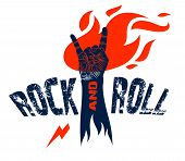 Rock hand sign on fire, hot music Rock and Roll gesture in flames, Hard Rock festival concert or club, vector label emblem or logo, musical instruments shop or recording studio. t-shirt