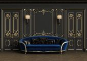 Classic sofa in classic interior with copy space.Walls with mouldings,lamps,ornated cornice. Floor parquet herringbone.Classic doors with decoration.Digital Illustration.3d rendering poster