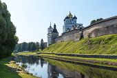 Panoramic view of Pskov Kremlin on the Velikaya river. Ancient fortress. The Trinity Cathedral in summer. Pskov. Russia. poster