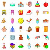 Abc icons set. Cartoon style of 36 abc icons for web isolated on white background poster