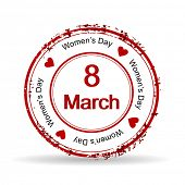 Vector illustration of a red color rubber stamp on white isolated background for International Women's Day. poster