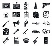 Police arsenal icons set. Simple set of police arsenal icons for web design on white background poster