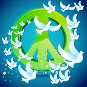 illustration of dove flying around peace symbol poster