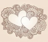 Hearts Henna Mehndi Valentine's Day Doodles Floral Paisley Design Vector Illustration poster