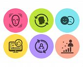 Face detection, Like video and User info icons simple set. Like, Face id and Stats signs. Detect person, Thumbs up. People set. Flat face detection icon. Circle button. Vector poster