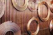 copper pipes of different diameter and sizes for carrying poster
