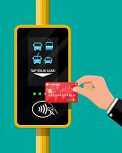 Terminal and bank card in hand. Airport, metro, bus, subway ticket terminal validator. Wireless, contactless or cashless payments, rfid nfc. Vector illustration in flat style poster