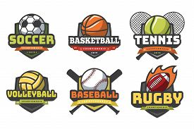 Sports Balls Logos. Sport Logo Ball Soccer Basketball Volleyball Football Rugby Tennis Baseball Badg