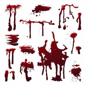 Dripping Blood On Isolated Background. Set Of Dripping Blood Drops And Trail, Smear, Splash, Drippin