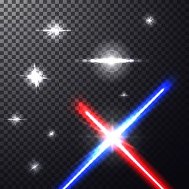 Realistic Bright Colorful Laser Beams. Crossed Light Swords On Isolated Transparent Black Background