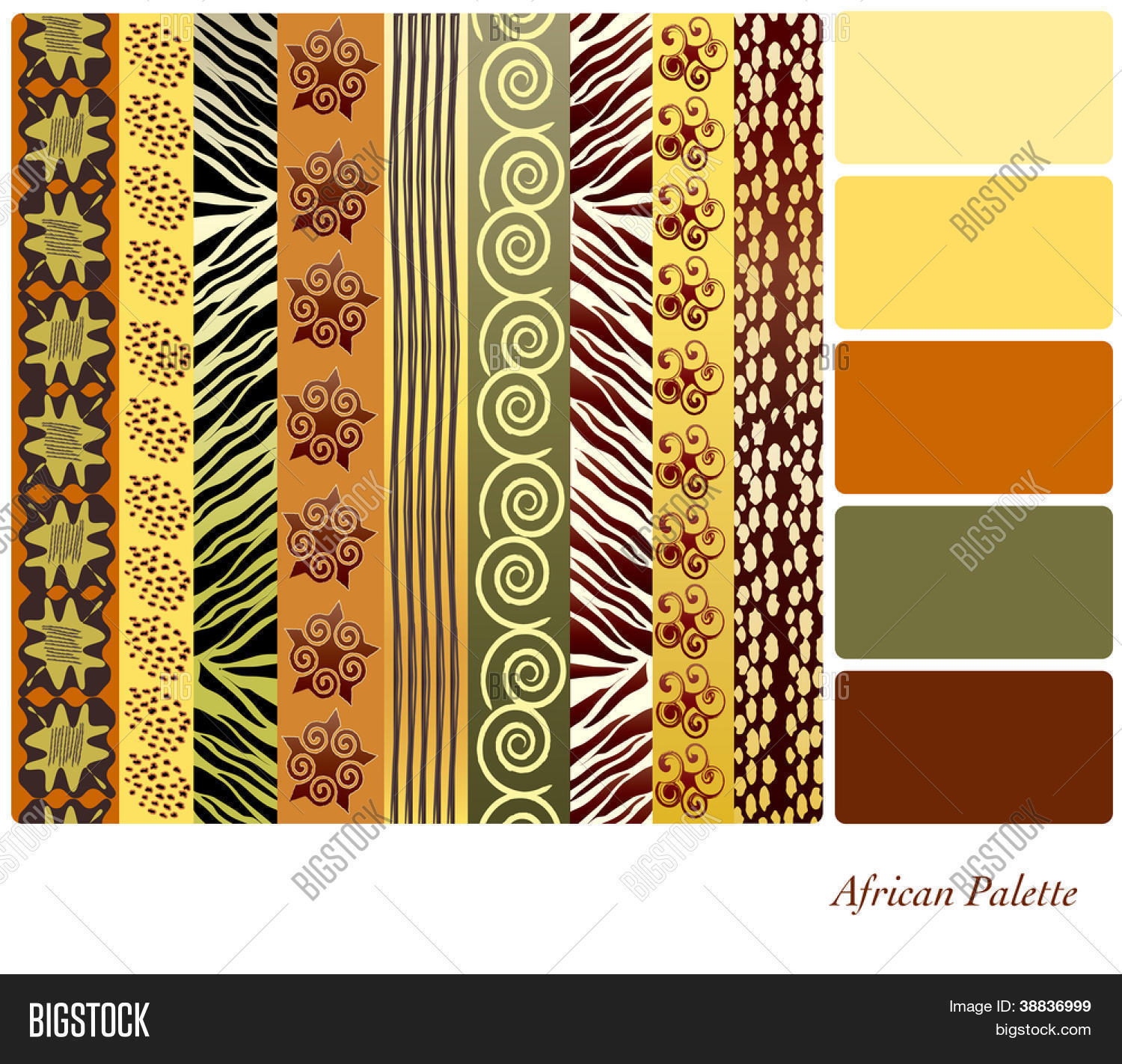 African Style Earth Tone Patterns Vector &