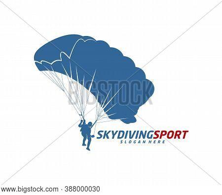 Skydiving Logo Design Vector Template, Parachuting Design Illustration