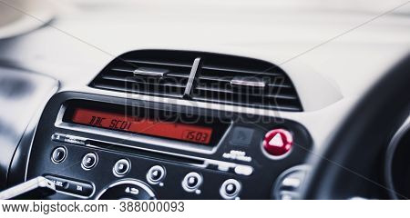 Stirling, Scotland - 17 August 2020: Bbc Scotland Radio On A Car Dashboard