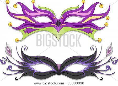 Illustration Featuring Fancy Masquerade Masks