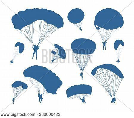 Set Of Skydiving Logo Design Vector Template, Parachuting Design Illustration