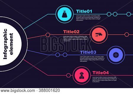 Set Pirate Sack, Cannon With Cannonballs, Wind Rose And Captain. Business Infographic Template. Vect