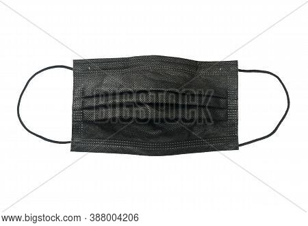 Black Face Mask Disposable (with Clipping Path) Isolated On White Background