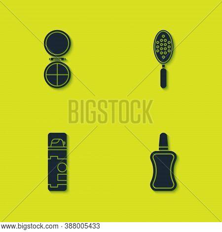 Set Makeup Powder With Mirror, Nail Polish Bottle, Shaving Gel Foam And Hairbrush Icon. Vector