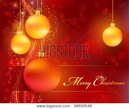 Merry Christmas background with stars, snow flakes, a wavy line pattern, bokeh lights and Christmas balls for your festive themed designs. EPS10