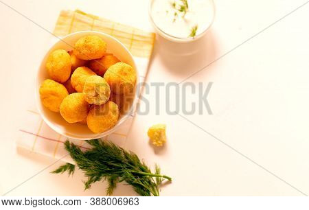 Flat Lay Small Homemade Ricotta Cheese Balls Donuts