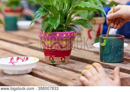 Children Are Painting Potted Plants Made Of Pottery Close Up