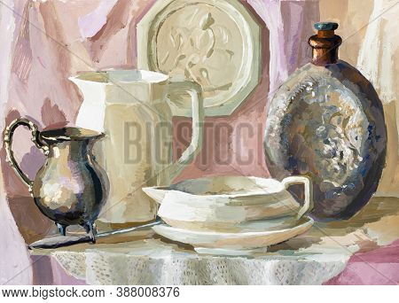 Cream And Pink Still-life With Crockery Hand-drawn By Tempera On White Paper