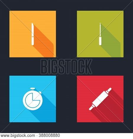 Set Knife, Sharpener, Kitchen Timer And Rolling Pin Icon. Vector