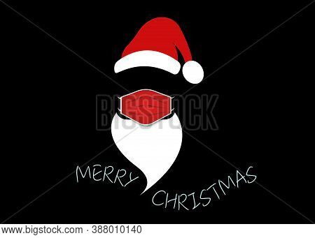 Santa Claus Head Label With Surgical Mask, Red Hat And White Beard. Merry Christmas Santa Claus Logo