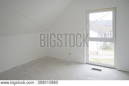 White Empty Ready-to-paint Room With Attic Ceiling And French Window.design Of Attic Bedroom With Sl