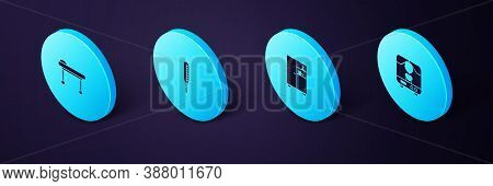 Set Isometric X-ray Machine, Medicine Cabinet, Medical Thermometer And Stretcher Icon. Vector