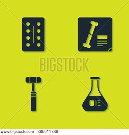 Set Pills In Blister Pack, Test Tube And Flask, Neurology Reflex Hammer And X-ray Shots Icon. Vector
