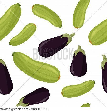 Green Squash And Eggplant Seamless Pattern. Fresh Plants Background.