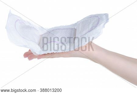 Urological Pad Diaper In Hand On White Background Isolation